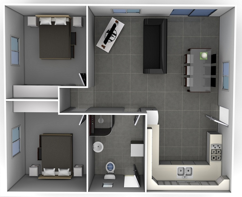 The Rachel Design Is A Full 60m2 Two Bedroom Granny Flat, Both Bedrooms  Come With Built In Robes. The Design Has A Large Kitchen And Laundry Nook.