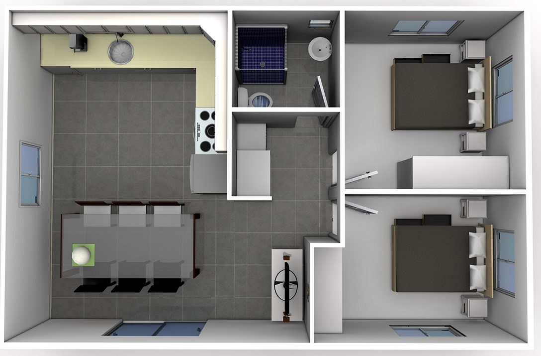 Home Design 60m2 Part - 48: The Rachel Design Is A Full 60m2 Two Bedroom Granny Flat, Both Bedrooms  Come With Built-in Robes. The Design Has A Large Kitchen And Laundry Nook.